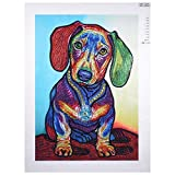 DIY 5D Diamond Painting by Number Kit, Seaintheson Colorful Dog Crystal Rhinestone Embroidery Partial Drill Stitch Arts Craft Supply Canvas Home Wall Decor 30X40CM