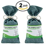 Great Value SG 2-Pack Bamboo Charcoal Deodorizer Bag, Best Air Purifiers for Smokers & Allergies, Perfect Car Air Fresheners, Remove Smells for Home & Bathroom (2, Viridian Blue)
