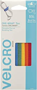 "VELCRO Brand ONE-WRAP Ties | Cable Management, Wires & Cords | Self Gripping Cable Ties, Reusable | 5 Ct -8"" x 1/2"" 