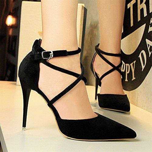 z&dw Elegante show Sexy Slim con tacones altos ante la boca poco profunda de punta hueca sandalias de banda cruzada negro