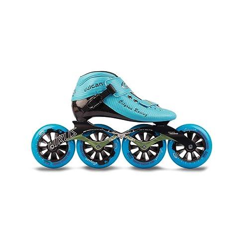 Patines línea Ruedas Profesional Polea Velocidad Patinaje Zapatos Principiante para para niños Adulto Hombres Mujer Patines,Yellow,42: Amazon.es: Hogar