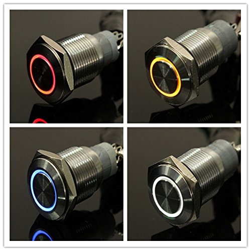 C&C Products 12V 16mm Latching Angel Eye LED Push Button Switch Flat Head Metal illuminated Switch 8 Pins