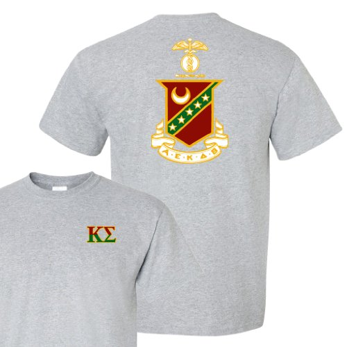 Kappa Sigma Standard T-Shirt - Crest Design on Back (large, Athletic Gray) by VictoryStore