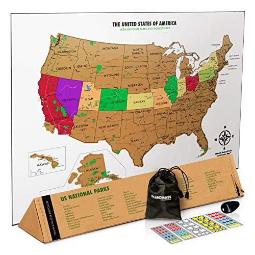 Landmass Scratch Off Map of The United States - USA Wall Map - US National Parks, State Capitals, Peaks and Highways - 17 x 24 Inches - Scratch Your Travels (States Wall Map United Wooden Art)