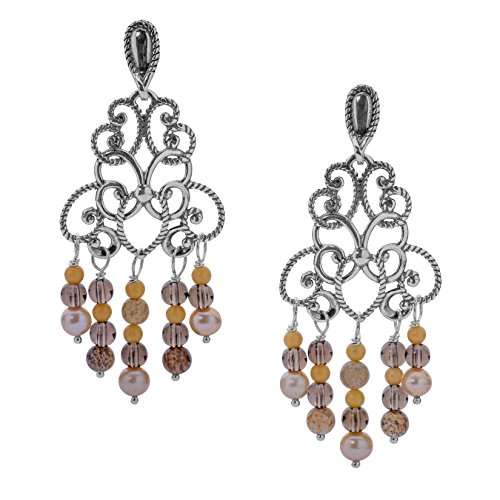 ssels Sterling Silver & Shades of Yellow Gemstones Chandelier Earrings - Carolyn Pollack Collection ()