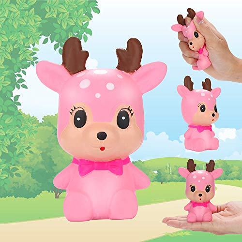 Wffo Slow Rising Squishy Toy, Stress Reliever Scented Super Slow Rising Kids Toy Squeeze Toys Cute Deer (Pink) ()