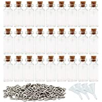 SUPERLELE 60pcs 2ml Small Mini Glass Bottles Jars with Cork Stoppers, 120pcs Eye Screws and 3pcs Small Funnels