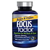 Focus Factor Brain & Vision Eye Vitamin & Mineral Supplement with Lutein and Zeaxanthin, 120 Count, 30 Day Supply