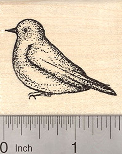 Bluebird Rubber Stamp, Blue Bird of Spring, Thrush