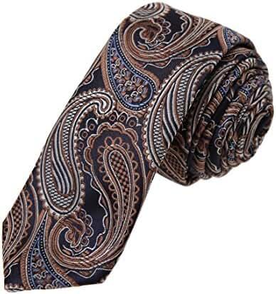 DAE7B13-15 Boyfriend Thin Tie Woven Microfiber Patterned Skinny Tie By Dan Smith