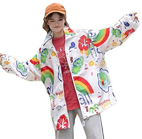 Stile Stampato Eleganti Sportivo Tempo Style Leggero Fidanzato Giacca C Ragazze Primaverile Coat Lunghe Sciolto Donna Libero Estivi Giubbino Outwear Zip Festa Maniche Moda qvI6vAzw
