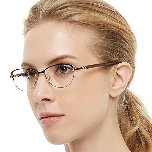 - OCCI CHIARI Women's Glasses Frame Non Prescription Eyewear Metal Optical Eyeglasses (Dumb Brown half frame)