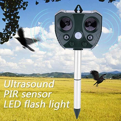 LSJZS Outdoor Ultrasonic Solar Pest Repeller Animal Pest Mouse Repeller PIR Sensor Garden Bird Cat Dog Fox Repellent Keep Animals Away