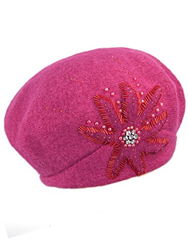 Dahlia Women's Wool Beret Hat - Rhinestone Sequin Beaded Flower - Magenta