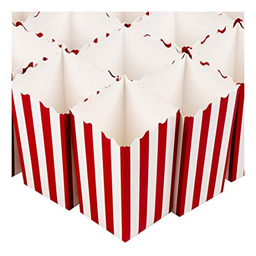 Set of 100 Popcorn Favor Boxes - Mini Paper Popcorn Bags and Snack Containers, Carnival Party Supplies for Movie Night, Movie Theme Party, Red and White, 20 Ounce, 3.3 x 5.6 x 3.3 Inches