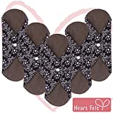 Sanitary Reusable Cloth Menstrual Pads by Heart Felt | 5 Pack Washable Sanitary Napkins with Charcoal Absorbency Layer -...