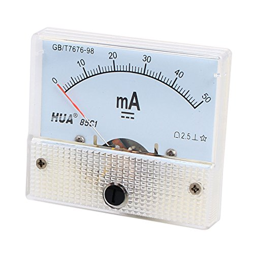 uxcell 85C1 DC 0-50mA Rectangle Shaped Vertical Mounted Analog Ammeter Ampere Meter Shaped Analog