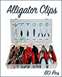 Paradise Harbor 60 Pcs Alligator Clip Assortment Kit Set Electrical Battery Clip Alligator Clip Assortment Set Test Lead Electrical Battery Clamp Connector