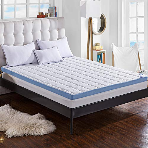 """Comfort & Relax 3-inch Foam Mattress Topper with Ultra Soft Cover, King Size, 75.5"""" x 79"""""""