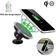 Wireless Car Charger Nano Suction Car Mount Holder Qi Fast Charger 360°Degree Rotating Handfree Car Kit