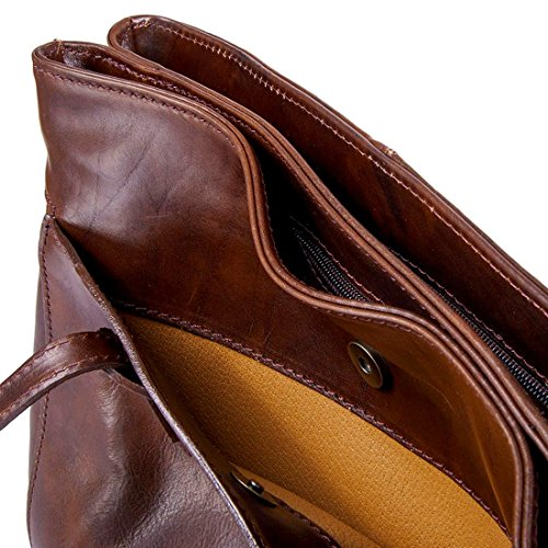 Dark Michelangelo Shopping Bag Leather Cm Brown Big Genuine Calf H26 37x13 Ciclamino Italy dark Brown skin xqrSw46Xq