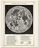 Antique Map of the Moon - 11x14 Unframed Art Print - Makes a Great Gift Under $15 for Space Lovers and Astronomers