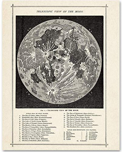 (Antique Map of the Moon - 11x14 Unframed Art Print - Makes a Great Gift Under $15 for Space Lovers and Astronomers)