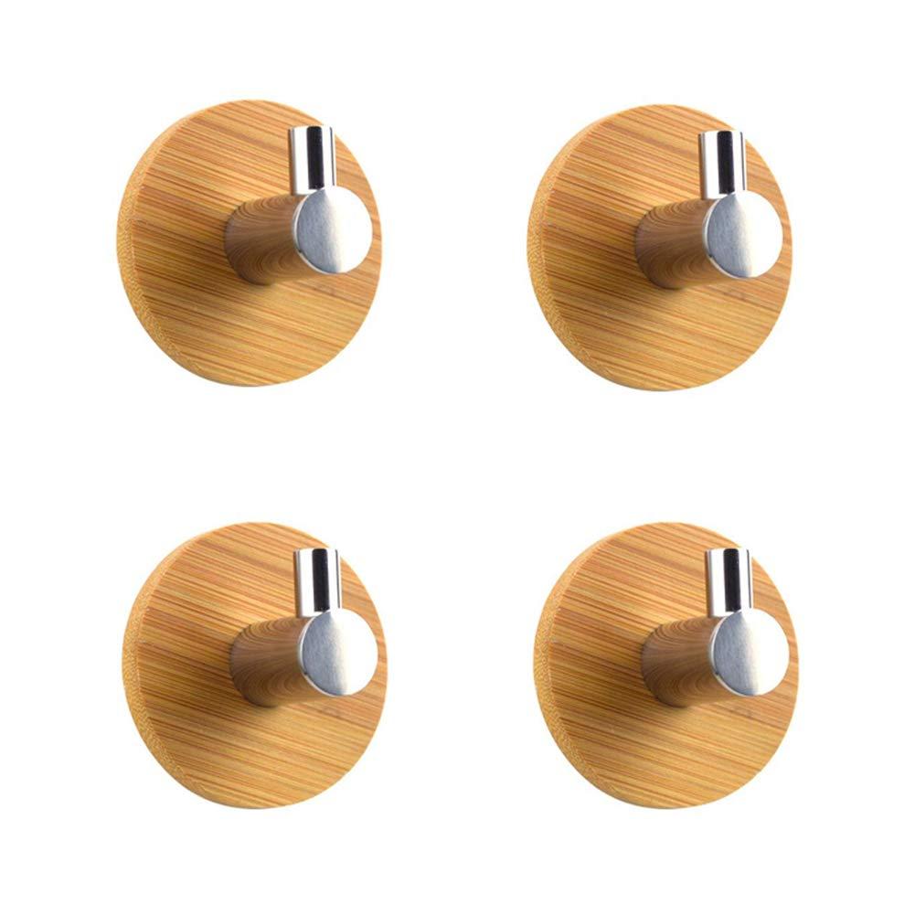 BQTime Adhesive Hooks, Super Power Heavy Duty Wall Mount Hooks, Bamboo Hanger Holder Towel, Robe, Coat, Cloth, Hat, Keys, Bags, Home, Kitchen, Bathroom (Set of 4)