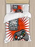 Lunarable Boy's Room Duvet Cover Set Twin Size, Video Games Themed Design in Retro Style Gamepad Console Entertainment, Decorative 2 Piece Bedding Set with 1 Pillow Sham, Orange Grey White