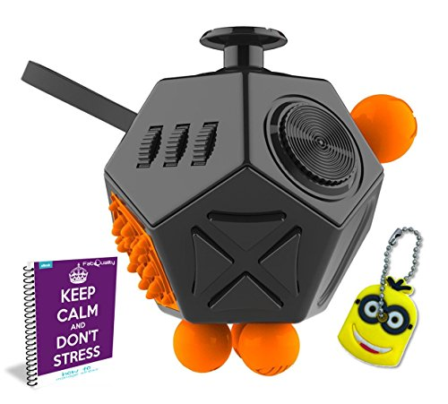 FabQuality Cube 12 Sides Anxiety Attention Toy With Minion Key Chain Gift + eBook Included - Relieves Stress And Anxiety And Relax for Children and Adults BONUS EBOOK is sent by (Minions Movie: Minion Kevin Adult Costume)