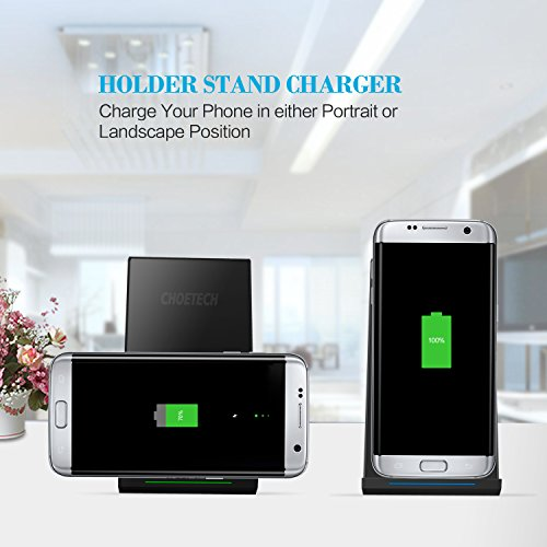 Fast Wireless Charger, CHOETECH Qi Fast Charge Wireless Charger Stand for Samsung Galaxy S9 S9 Plus Note 8 S8 Plus S8+ S8 S7 and Standard Charge for iPhone X iPhone 8 iPhone 8 Plus (No AC Adapter)