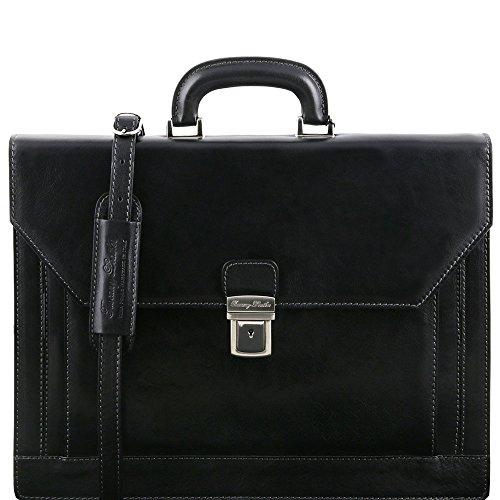 Tuscany Leather - Napoli - Cartable en cuir avec 2 compartiments et poche frontale - Noir - Homme