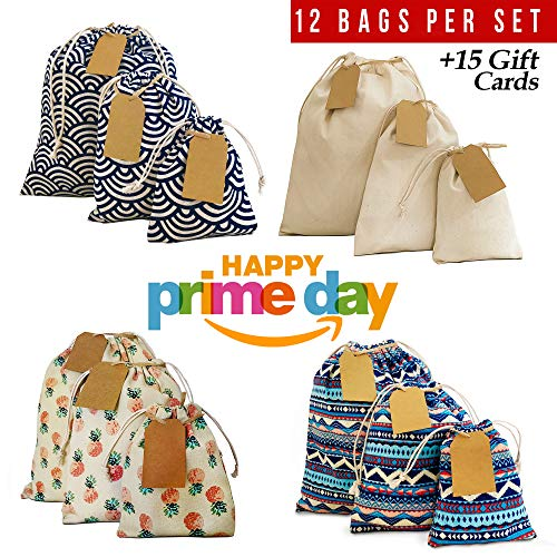 Cloth bags with drawstring 12pcs + 15 gift cards, Arts, Crafts, Wedding, Birthday gift bags, Eco friendly storage bags, Produce bags, Reusable snack bags. Small - M - Large gift bags. 2nd Ed.