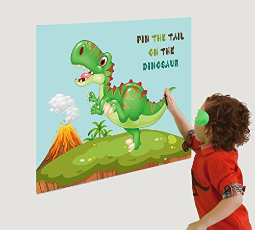 Pin The Tail On The Dinosaur Game - Dino Fossil Jurassic T-REX Birthday Party Supplies Decorations]()