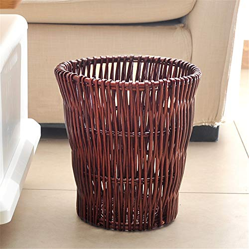 Rattan Trash Can Home Living Room Bedroom Bathroom Creative Classification Wicker Storage Trash Nordic Paper Eco Friendly (Color : Brown, Size : 25x27mm)