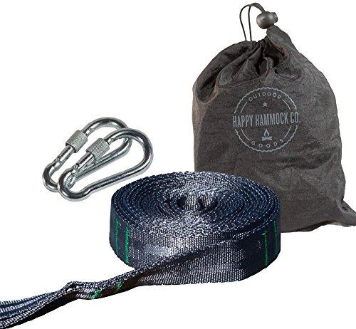 Happy Hammock Co. Sturdy Hammock Tree Straps with 2 Long, Heavy Duty Camping Hammock Strap Kit, Carabiners Case
