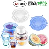 Silicone Stretch Lids Food Cover Reusable for Jars Containers, 12 Pack Cups Bowl Stretchable Covers BPA Free Extra Large, Large, Small for Keeping Food Fresh, Dishwasher and Freezer Safe