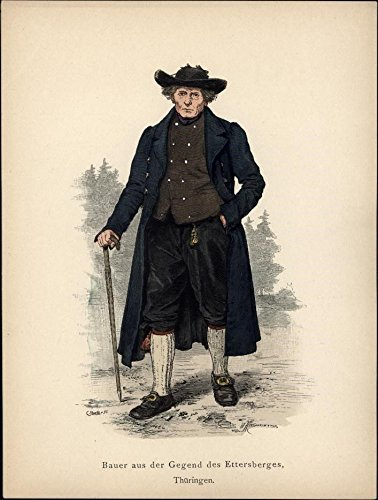 Farmer of Ettersberges Thuringia Germany w/ cane hat c.1875 antique costume