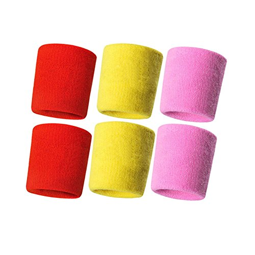 Hanerdun Wrist Sweatbands Thick Cotton Terry Cloth Wristbands For Men And Women Athletic Sweat Bands For Sports Tennis Gym Basketball, 2Yellow/2Pink/2Red(6 pieces), One Size ()