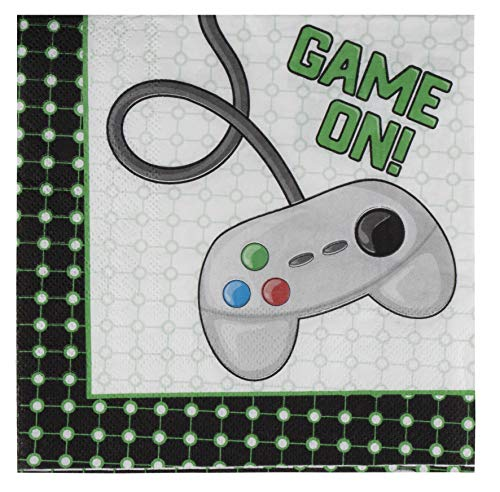Video Game Napkins - 100-Pack Disposable Paper Napkins with Gaming Themed Design, 2-Ply, Game On Birthday Party Supplies, Luncheon Size Folded 6.5 x 6.5 Inches