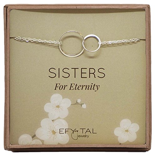 Sterling Artisan Bracelet Link Silver (Efy Tal Jewelry Sterling Silver Sisters Bracelet, Infinity Joined Two Interlocking Double Circles on Card Gift For Sister)