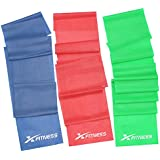 xFitness Flat Latex Stretch Resistance Training Bands - Long Fitness Stretch Band Yoga Straps, Best for Home Gym Workout, Yoga, Pilates, Arms Pull Up Strength Training, Physical Therapy