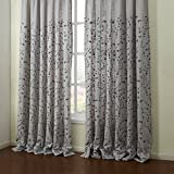 KoTing Flower Curtains for Living Room Drapes 1 Panel Embroidered Gray Floral Grommet Curtains and Drapes 96 inch Length For Sale