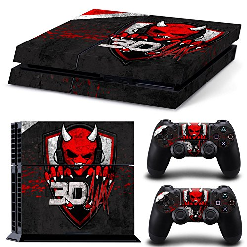 [MightySticker® PS4 Designer Skin Game Console System + 2 Controller Decal Vinyl Protective Covers Stickers Sony PlayStation 4 - Music 3D Max Red Grin Evil Smiley Devil DJ White Horns Stereo] (Smiley Horror Mask)
