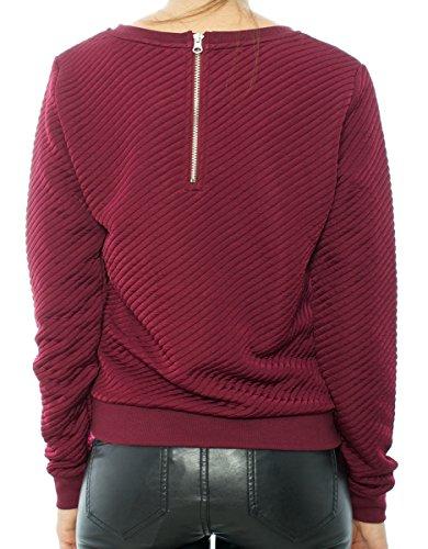 Only Dylaney L/S Jacquart femmes, sweat-shirt , rouge