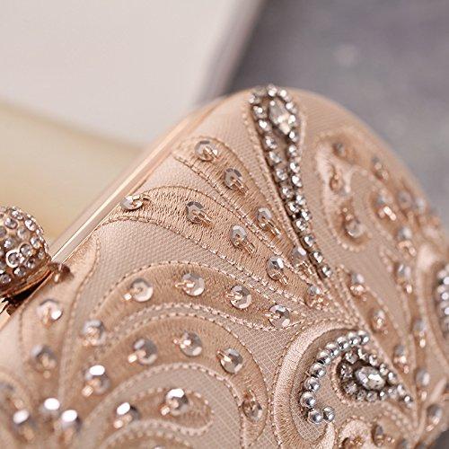 Embroidered Champagne Bag Shaped Leaf Evening Mesh Clutch Hardbox Womens Beaded Missfiona x6vqwnIpz