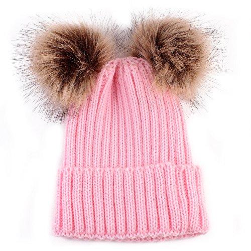 (Baby Winter Warm Hat, Baby Newborn Knit Hat Infant Toddler Kid Crochet Hat Beanie Cap (Pink))