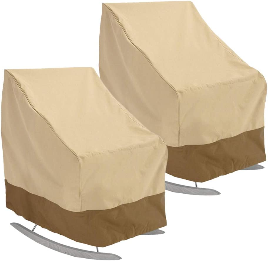 BullStar 2 Pack Patio Rocking Chair Cover 420D Waterproof Outdoor Rocker Chair Cover Furniture Protector Weather & UV Resistant 27.5 Inch L x 32.5 Inch Deep x 39 inch H