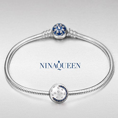 """NINAQUEEN""""Starry Sky"""" 925 Sterling Silver Moon and Star Stopper Clasp Charms with 5A Cubic Zirconia for DIY Bracelets Wrist Ornaments Jewelry Accessories"""