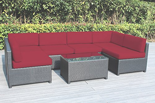 Ohana Mezzo 7-Piece Outdoor Wicker Patio Furniture Sectional Conversation Set, Black Wicker with Red Cushions – No Assembly with Free Patio Cover For Sale